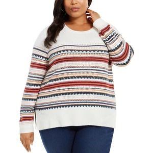 Style & Co White Striped Sweater Studs Plus Sz 3X